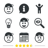 Rapper smile face icons. Happy, sad, cry. Stock Photos