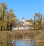 Rapperswil, lago Obersee, otoño Fotos de archivo