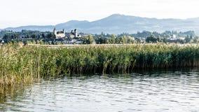 Rapperswil och sjö Zurich Arkivbilder