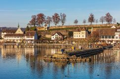 Town of Rapperswil in Switzerland. Rapperswil, Switzerland - November 30, 2016: buildings of the historic part of the town of Rapperswil. Rapperswil is a part of stock photos