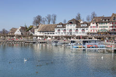 Rapperswil, view on the Seequai quay Stock Image