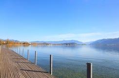 Rapperswil, vista no lago Obersee Imagens de Stock