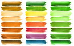 Rappes colorées de balai d'aquarelle Photographie stock libre de droits