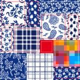 Rappezzatura blu, bianca e rossa Collage della Boemia di stile fatto dalle falde del cotone Fotografie Stock Libere da Diritti