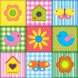 Rappezzatura con il birdhouse Immagine Stock
