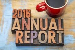 rapport annuel 2016 dans le type en bois Photo libre de droits