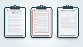 Rapport d'inspection à la maison Calibre moderne avec le rapport d'inspection de maison de couleur pour la conception de bannière illustration stock