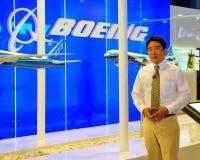 Rapport dat de nieuwe vliegtuigen van Boeing introduceert in Airshow Stock Foto's