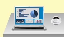 Rapport de gestion sur l'écran de l'ordinateur portable Photographie stock libre de droits