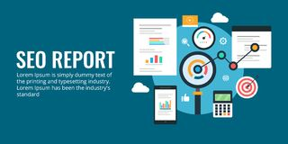 Rapport de Seo - analyse de données, analytics de Web, rapport de gestion Bannière plate de vecteur de conception illustration de vecteur
