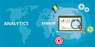 Rapport de technologie d'analytics d'apps de Web de site Web analysant avec le diagramme et les données de graphique illustration de vecteur