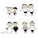 Rapport-enfants de famille, adultes, aînés Photographie stock libre de droits