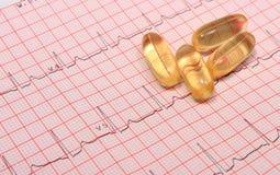 Rapport et comprimés de graphique d'électrocardiogramme Photographie stock libre de droits