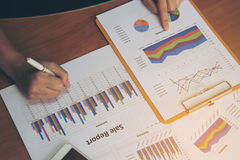 Rapport för affär för kontroll för affärskvinna arkivbild