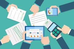 Rapport för finansiell forskning Finansiell granskare vektor Arkivbild