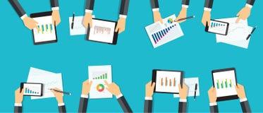Rapport för graf för gruppaffär analytisk planläggning för affärsinvestering Arkivbilder