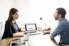 Rapport för kvinnavisningförsäljningar till en klient royaltyfria foton