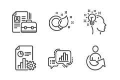 Rapport-, grafdiagram och vakanssymbolsuppsättning Idé-, målarfärgborste och aktietecken vektor royaltyfri illustrationer