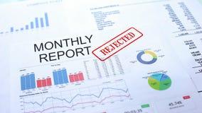 Rapport mensuel rejeté, joint embouti sur le document officiel, projet d'affaires photo stock