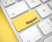 Rapport - Tekst over de Gele Toetsenbordknoop 3d Stock Foto