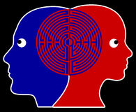 Rapport. Two people being in sync or on the same wavelength which is common practiced in psychotherapy royalty free illustration