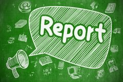 Rapport - utdragen illustration för hand på den gröna svart tavlan stock illustrationer