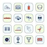 Rapporteur-Geplaatste Muziekpictogrammen Royalty-vrije Stock Afbeeldingen