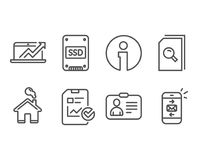 Rapportez les icônes de liste de contrôle, de dossiers de ventes diagramme et de recherche Carte d'identification, signes de disq Image libre de droits
