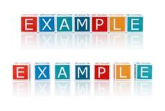Rapportez les sujets avec des blocs de couleur. Exemple. image libre de droits