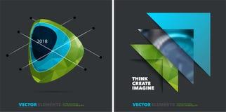 Rapporto annuale astratto, modello di vettore di affari Progettazione dell'opuscolo, copertura Immagini Stock