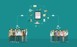 Rapporto d'affari sociale sul cellulare vendita online di affari Rete di affari Rete della nuvola La gente del gruppo royalty illustrazione gratis