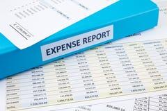 Rapporto delle spese di esercizio con il raccoglitore Fotografia Stock Libera da Diritti