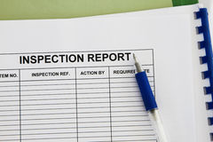 Rapporto di Inspectionl fotografie stock