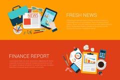 Rapporto online di finanza di vettore di web delle insegne di notizie fresche piane del collage Fotografie Stock Libere da Diritti