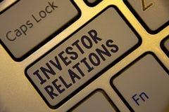 Rapports à l'investissement d'écriture des textes d'écriture Les relations d'investissement de finances de signification de conce Image libre de droits