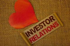 Rapports à l'investissement des textes d'écriture de Word Le concept d'affaires pour des relations d'investissement de finances n Image stock