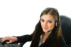 Rappresentante di cura del cliente sul computer Fotografia Stock Libera da Diritti