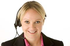 Rappresentante di servizio di assistenza al cliente con la cuffia avricolare Fotografia Stock