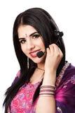 Rappresentante indiano felice di servizio di assistenza al cliente Fotografia Stock