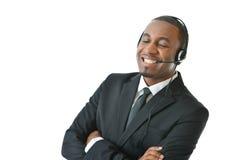 Rappresentante Speaking di servizio di assistenza al cliente Fotografia Stock