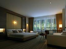 rappresentazione 3D della camera da letto domestica Immagini Stock Libere da Diritti