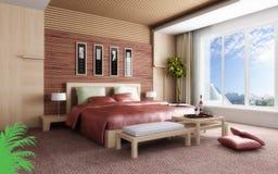 rappresentazione 3D della camera da letto domestica Immagine Stock