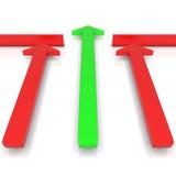 rappresentazione 3d di qualche verde e di una freccia rossa Immagine Stock
