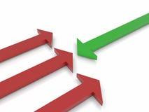 rappresentazione 3d di un certo colore rosso e di una freccia verde Immagini Stock Libere da Diritti