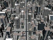 rappresentazione 3D di una città Fotografie Stock Libere da Diritti