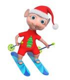 Rappresentazione adorabile dello sciatore 3d del ragazzo del topo illustrazione di stock