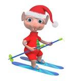 Rappresentazione adorabile dello sciatore 3d del ragazzo del topo Immagini Stock Libere da Diritti