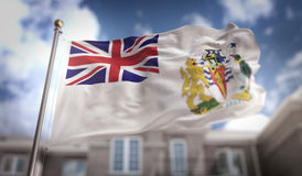 Rappresentazione antartica britannica della bandiera 3D del territorio sul cielo blu Buildi Immagini Stock Libere da Diritti