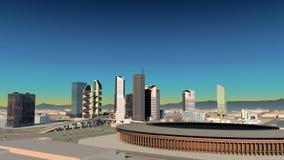 Rappresentazione areale della città del colpo 3D alla sera Fotografia Stock Libera da Diritti
