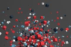 Rappresentazione astratta 3d dei cubi di volo Fotografia Stock Libera da Diritti